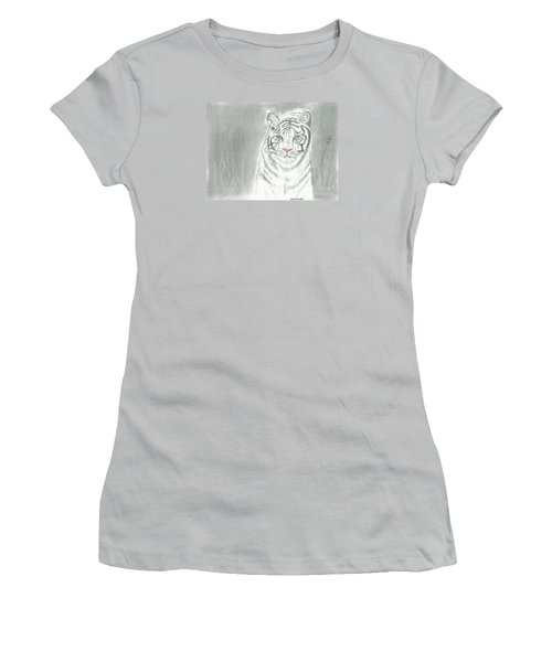 Women's T-Shirt (Junior Cut) featuring the pastel White Tiger by David Jackson