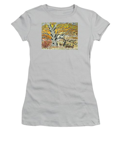 Women's T-Shirt (Junior Cut) featuring the painting Whitetails And White Oak Tree by Jeffrey Koss
