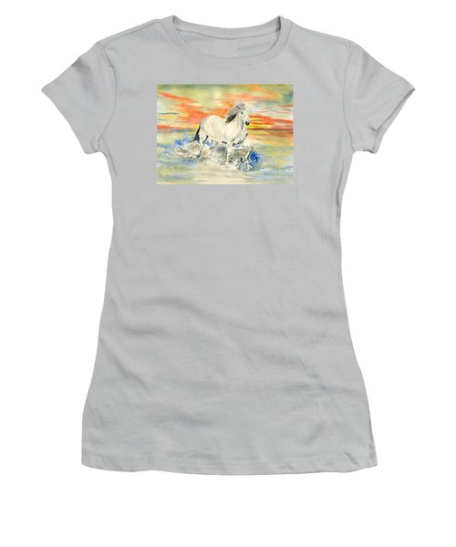 Wild White Horse Women's T-Shirt (Junior Cut) by Melly Terpening