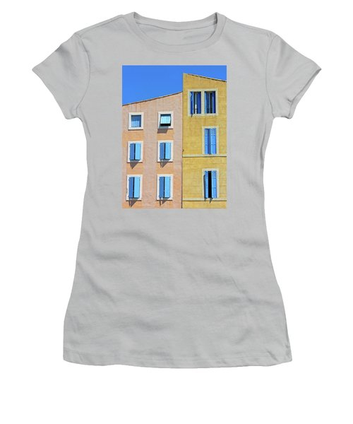 Women's T-Shirt (Junior Cut) featuring the photograph Windows Martigues Provence France by Dave Mills