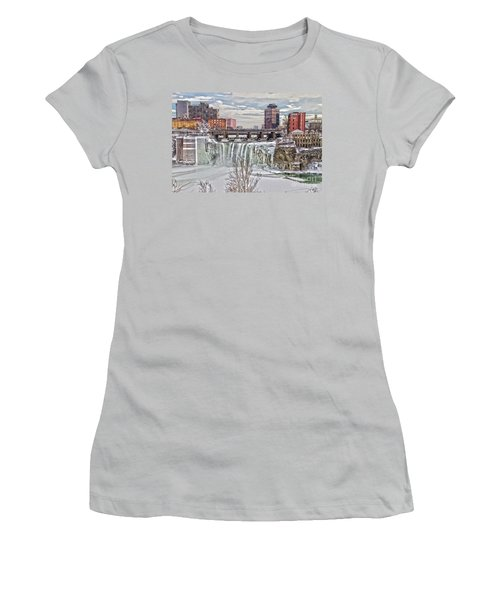 Winter At High Falls Women's T-Shirt (Athletic Fit)