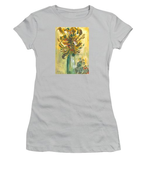 Winter Flowers Women's T-Shirt (Junior Cut) by Veronica Rickard
