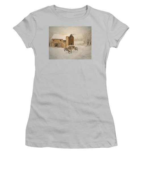 Women's T-Shirt (Junior Cut) featuring the painting Winter Wine by Alan Lakin