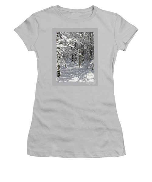 Women's T-Shirt (Junior Cut) featuring the photograph Wintery Woodland Shadows by Patricia Overmoyer