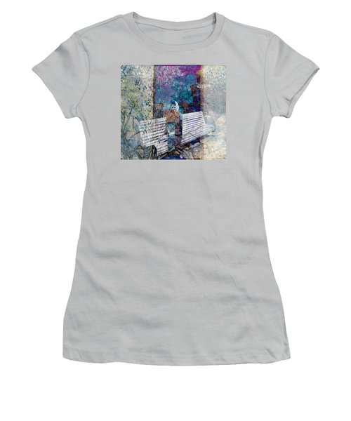 Women's T-Shirt (Junior Cut) featuring the digital art Woman On A Bench by Cathy Anderson