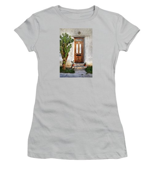 Women's T-Shirt (Junior Cut) featuring the photograph Wood Door In Tuscon by Ken Smith
