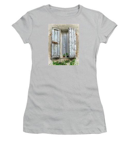 Wooden Shutters In Urbino Women's T-Shirt (Athletic Fit)