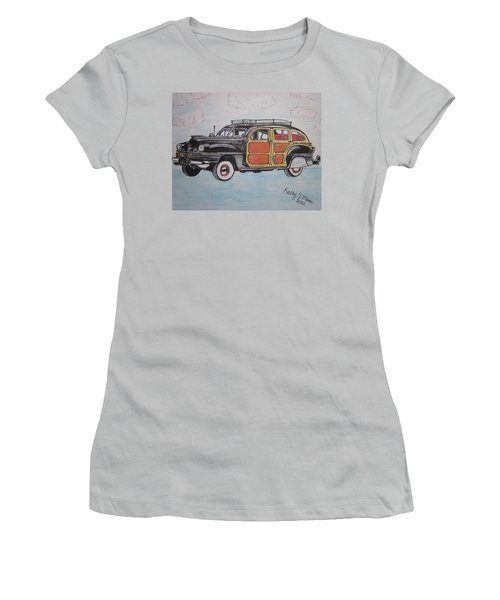 Women's T-Shirt (Junior Cut) featuring the painting Woodie Station Wagon by Kathy Marrs Chandler