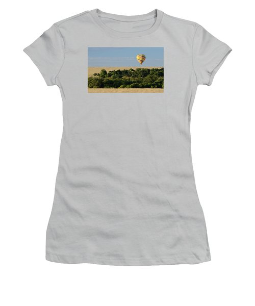 Women's T-Shirt (Junior Cut) featuring the photograph Yellow Hot Air Balloon Masai Mara by Tom Wurl