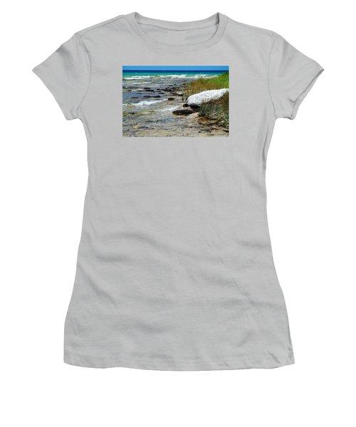 Quiet Waves Along The Shore Women's T-Shirt (Junior Cut) by Janice Adomeit