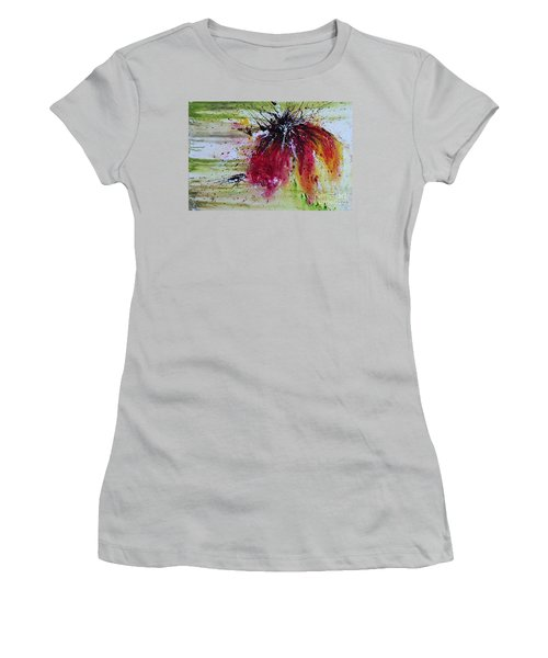 Women's T-Shirt (Junior Cut) featuring the painting Abstract  Flower by Ismeta Gruenwald
