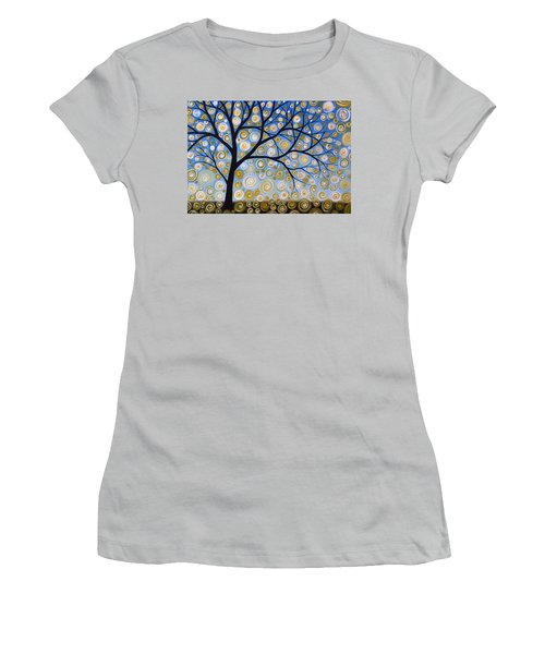 Women's T-Shirt (Junior Cut) featuring the painting Abstract Tree Nature Original Painting Starry Starry By Amy Giacomelli by Amy Giacomelli