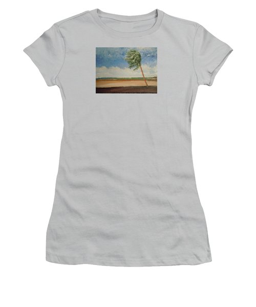 Women's T-Shirt (Junior Cut) featuring the painting Alone In Paradise  by Dan Whittemore
