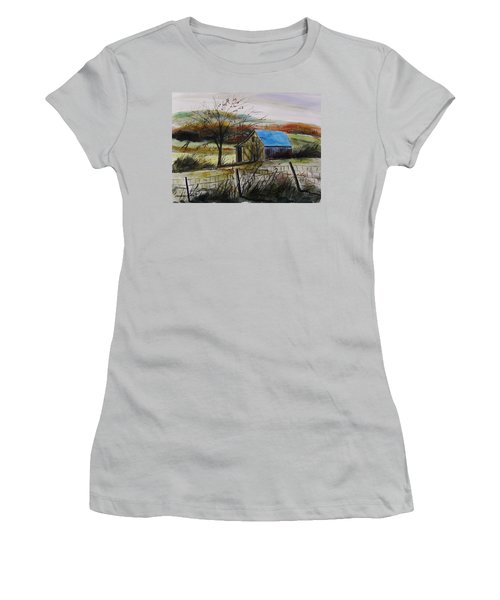 Women's T-Shirt (Junior Cut) featuring the painting Autumn Light By John Williams by John Williams