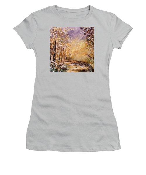 Women's T-Shirt (Junior Cut) featuring the painting Autumn Snow by Karen  Ferrand Carroll