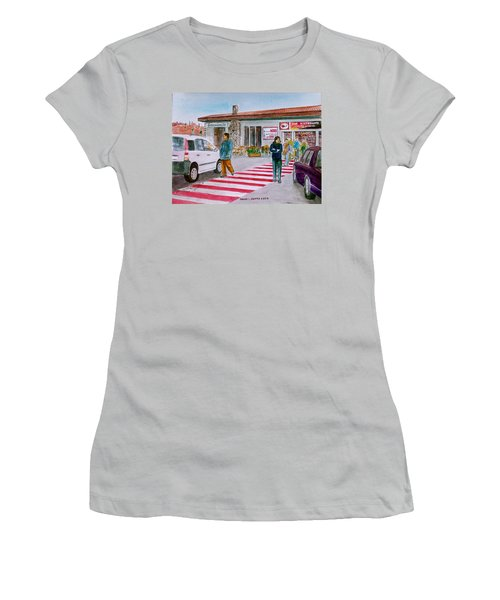 Bar Ristorante Mt. Etna Sicily Women's T-Shirt (Junior Cut) by Frank Hunter