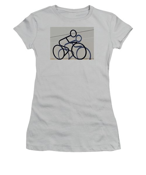 Women's T-Shirt (Junior Cut) featuring the photograph Bicycle Shadow by Julia Wilcox