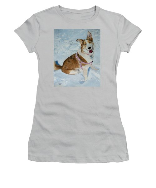 Blue - Siberian Husky Dog Painting Women's T-Shirt (Athletic Fit)