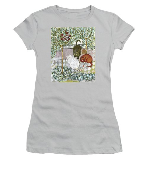 Brown And White Alley Cats Consider Catching A Bird In The Green Garden Women's T-Shirt (Athletic Fit)