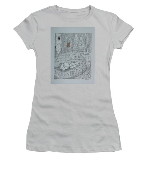 Women's T-Shirt (Junior Cut) featuring the drawing Canine Skull And Butterfly by Daniel Reed