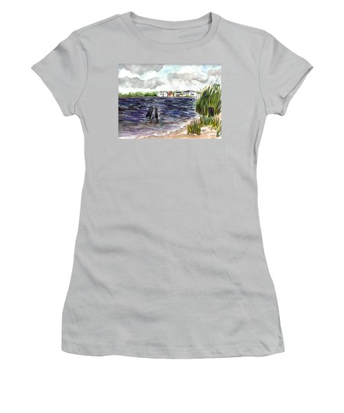 Women's T-Shirt (Junior Cut) featuring the painting Cedar Beach by Clara Sue Beym