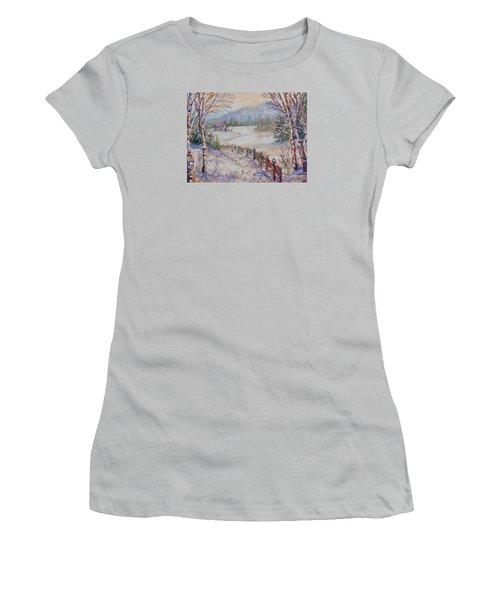 Women's T-Shirt (Junior Cut) featuring the painting Christmas by Lou Ann Bagnall