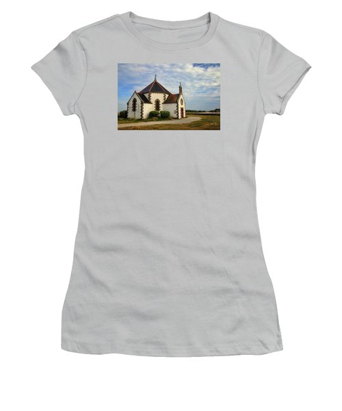 Women's T-Shirt (Junior Cut) featuring the photograph Church Off The Brittany Coast by Dave Mills