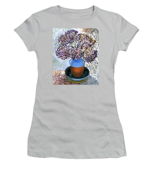 Colorful Impression Of Purple Flowers In Blue Brown Ceramic Vase Yellow Plate With Green Branches  Women's T-Shirt (Junior Cut) by Rachel Hershkovitz