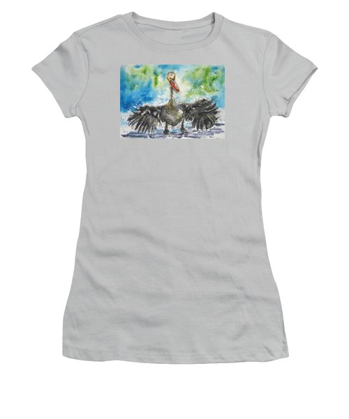 Women's T-Shirt (Junior Cut) featuring the painting Cooling Off by Anna Ruzsan