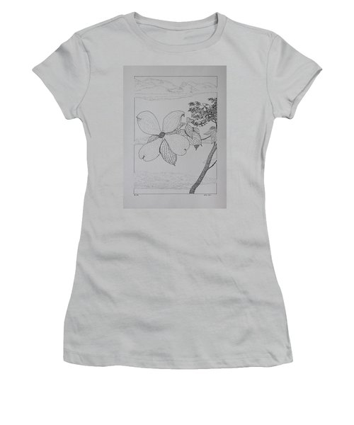 Women's T-Shirt (Junior Cut) featuring the drawing Dogwood  by Daniel Reed