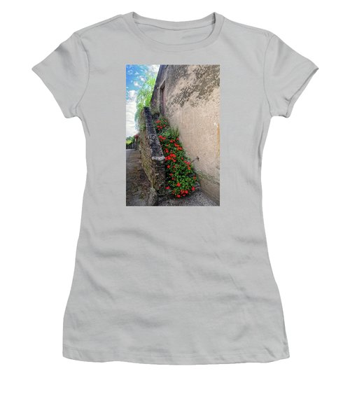 Women's T-Shirt (Junior Cut) featuring the photograph Flower Stairway by Dave Mills