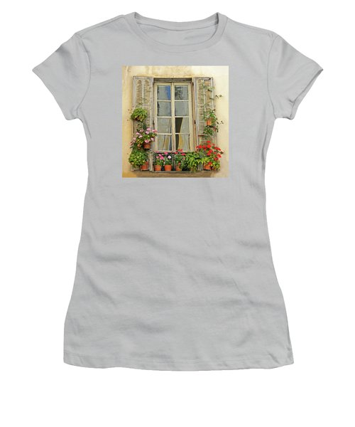 Women's T-Shirt (Junior Cut) featuring the photograph Flower Window Provence France by Dave Mills