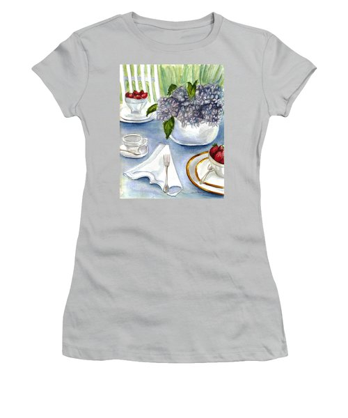 Women's T-Shirt (Junior Cut) featuring the painting Garden Tea Party by Clara Sue Beym