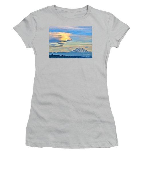 Women's T-Shirt (Junior Cut) featuring the photograph Lenticular Cloud And Mount Rainier by Sean Griffin