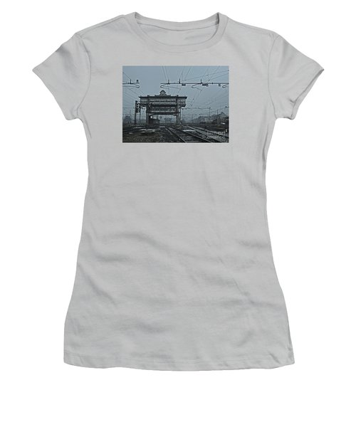 Women's T-Shirt (Junior Cut) featuring the photograph Milan Central Station Italy In The Fog by Andy Prendy