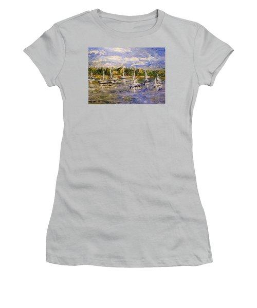 Women's T-Shirt (Junior Cut) featuring the painting Newport Views by Karen  Ferrand Carroll