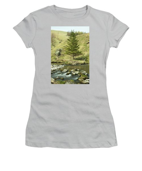Women's T-Shirt (Junior Cut) featuring the photograph Northumberland, England A River Flowing by John Short