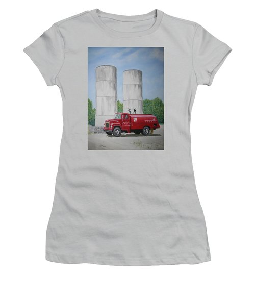 Women's T-Shirt (Junior Cut) featuring the painting Oil Truck by Stacy C Bottoms