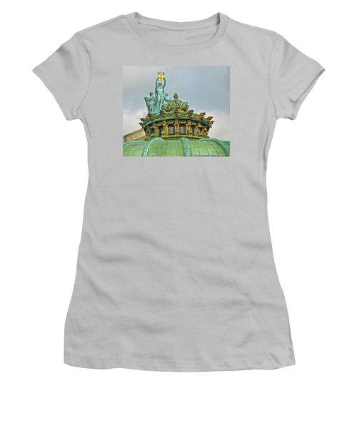 Women's T-Shirt (Junior Cut) featuring the photograph Paris Opera House Roof by Dave Mills