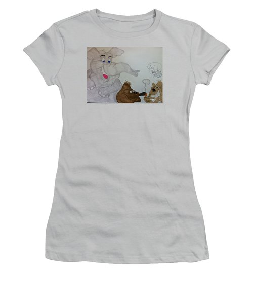 Partying Animals Cartoon Women's T-Shirt (Athletic Fit)