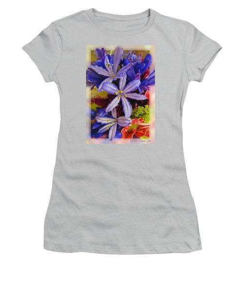 Women's T-Shirt (Junior Cut) featuring the photograph Purple Stars by Debbie Portwood