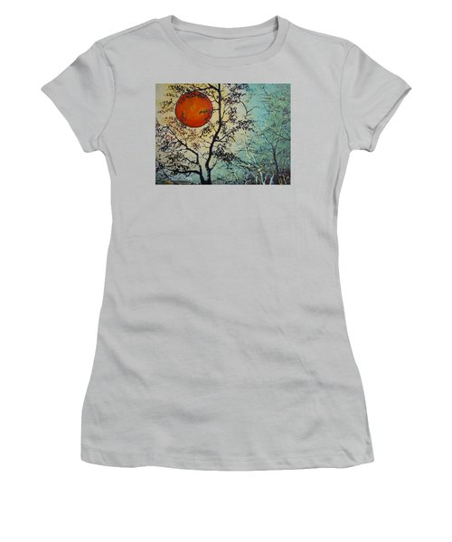 Women's T-Shirt (Junior Cut) featuring the painting Red Sun A Red Moon by Dan Whittemore