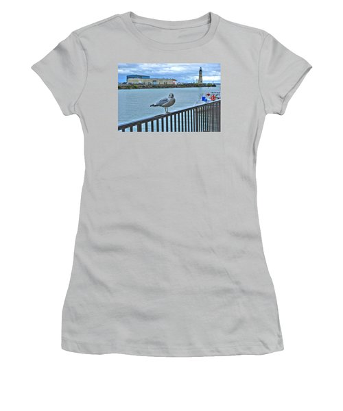 Women's T-Shirt (Junior Cut) featuring the photograph Seagull At Lighthouse by Michael Frank Jr