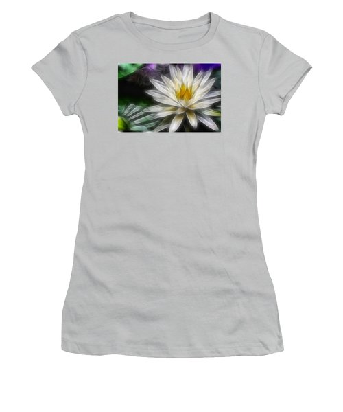Waterlily In Pseudo-fractal Women's T-Shirt (Junior Cut) by Lynne Jenkins