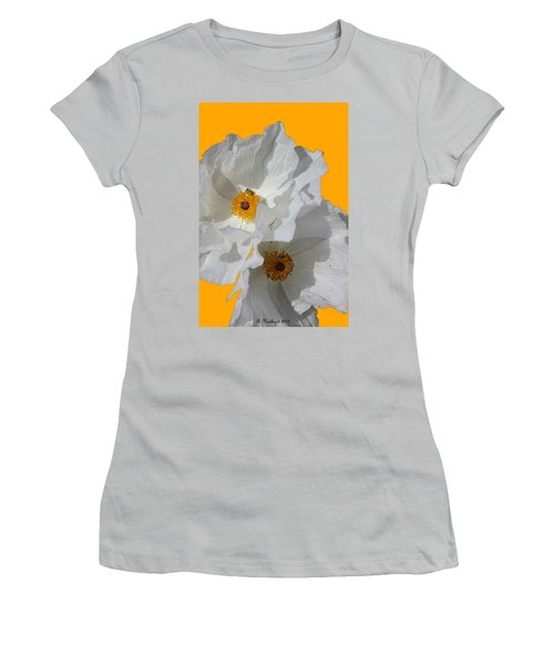 White Poppies On Yellow Women's T-Shirt (Junior Cut) by Betty Northcutt