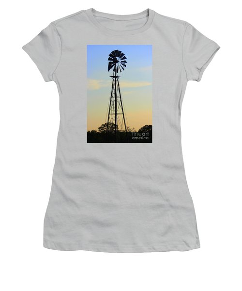Women's T-Shirt (Junior Cut) featuring the photograph Windmill At Dusk by Kathy  White