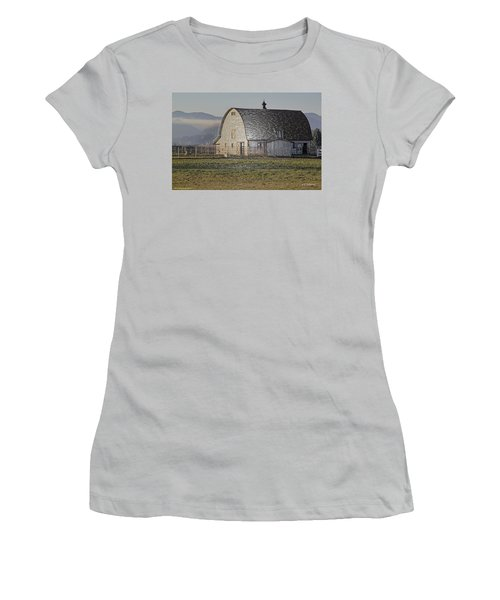 Women's T-Shirt (Junior Cut) featuring the photograph Wrapped Barn by Mick Anderson
