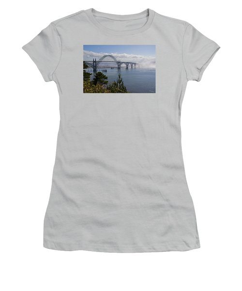 Women's T-Shirt (Junior Cut) featuring the photograph Yaquina Bay Bridge by Mick Anderson