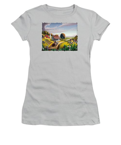 Appalachian Blackberry Patch Rustic Country Farm Folk Art Landscape - Rural Americana - Peaceful Women's T-Shirt (Junior Cut)