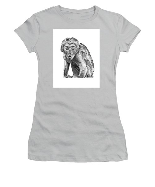 Women's T-Shirt (Junior Cut) featuring the drawing 057 Madhula The Monkey by Abbey Noelle